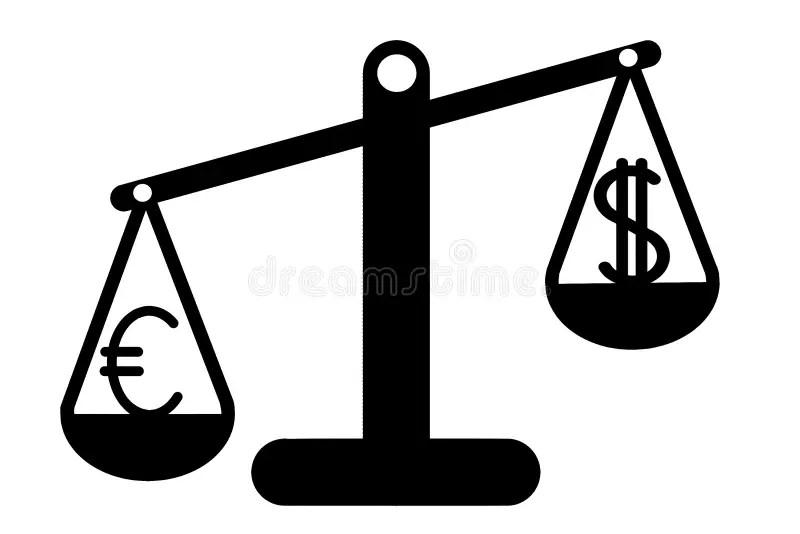 Euro and Dollar on balance stock illustration