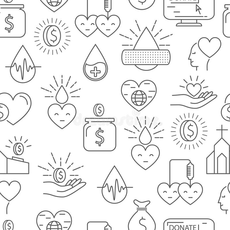 Donation Money And Blood Seamless Pattern Stock Vector