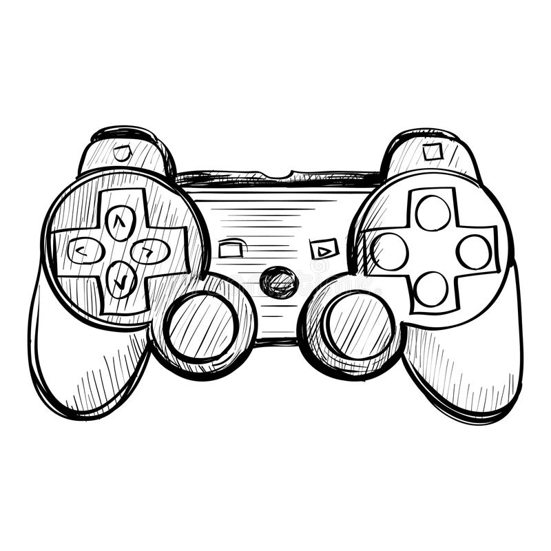 Doodle Gamepad On A White Background Stock Vector
