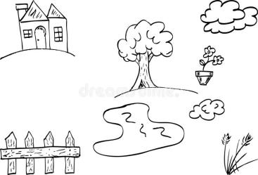 Doodle house and garden stock vector Illustration of simple 40484653