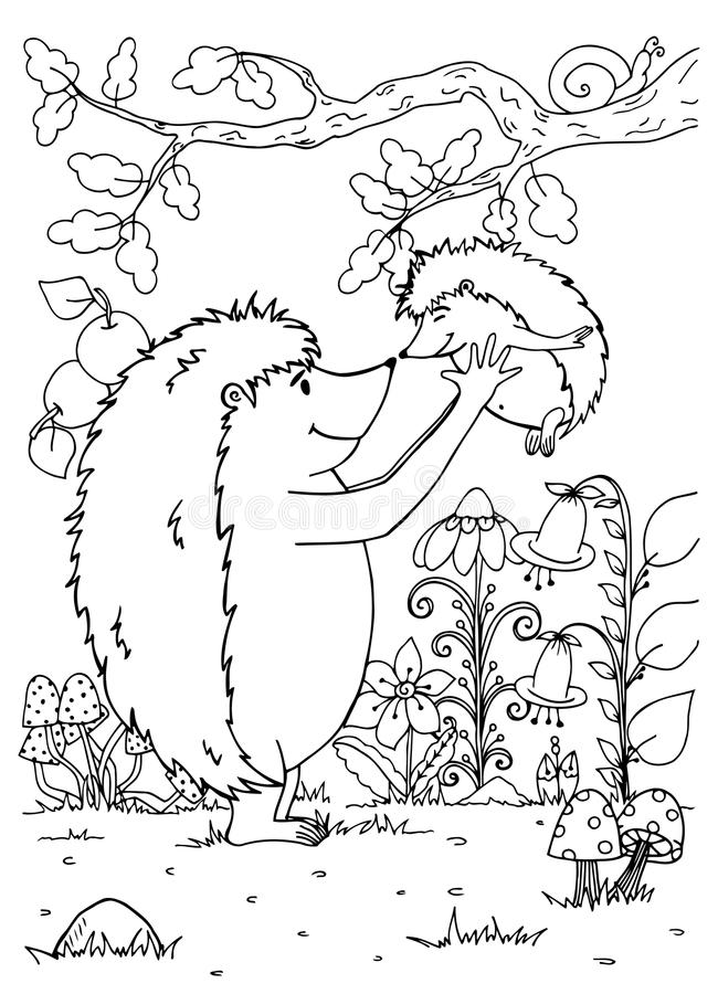 Doodle Illustration Of A Hedgehog Mother And Baby. Vector