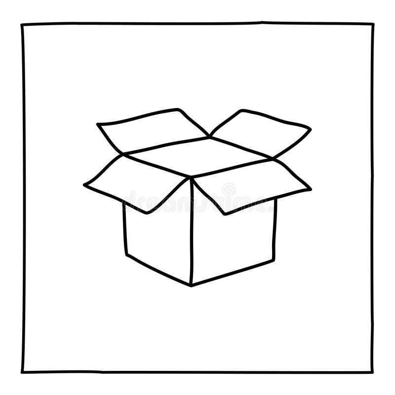 Doodle open box icon stock illustration. Illustration of