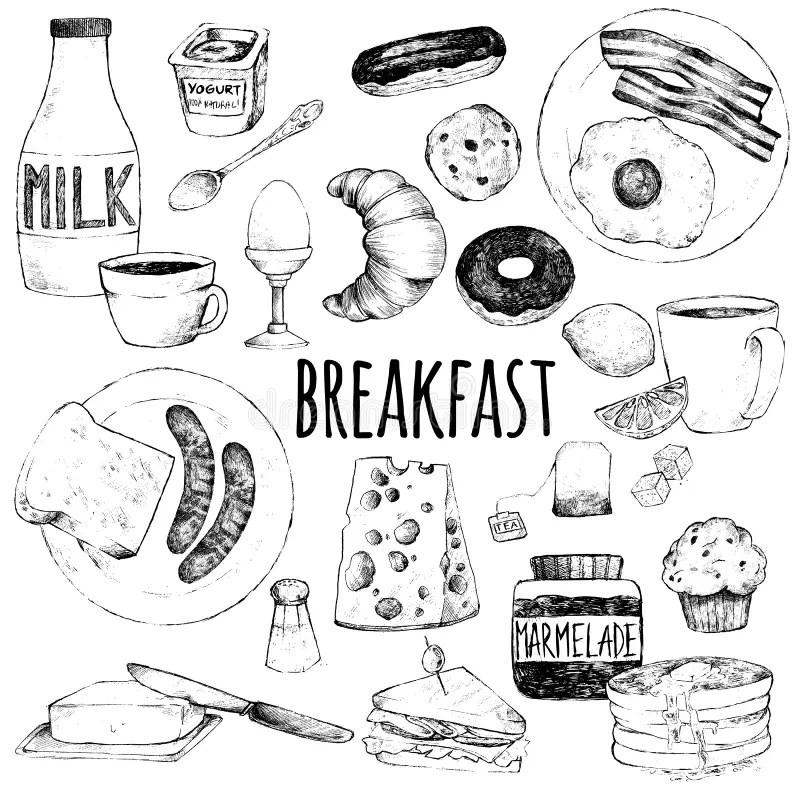 Breakfast Doodle Pattern. Pancakes Jam Cheese Yogurt