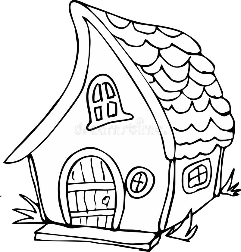 Doodle style fairy house stock vector. Illustration of