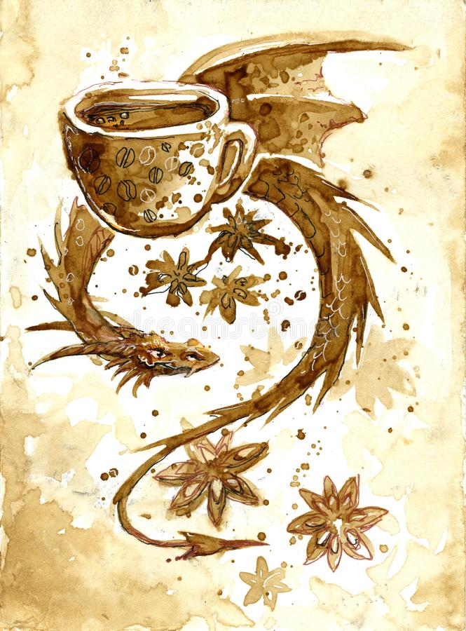 Dragon Coffee : dragon, coffee, Coffee, Dragon, Stock, Illustrations, Illustrations,, Vectors, Clipart, Dreamstime