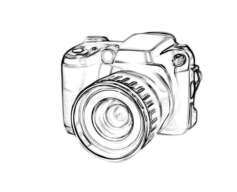 Drawing digital camera stock vector. Illustration of lens