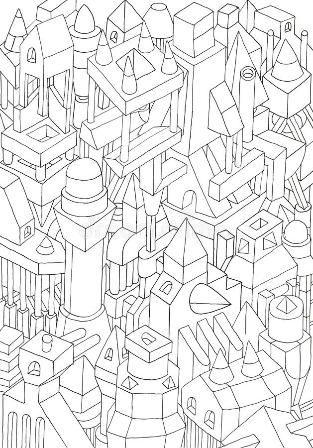 Drawing Of Geometric Forms On A Paper Stock Illustration