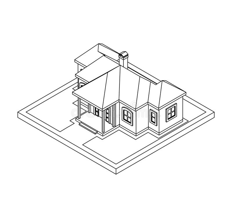 Drawing of private house stock vector. Illustration of