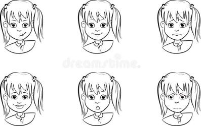 Drawing Set Of Cartoon Faces A Child With Various Emotions Moods And Expressions Black And White Stock Vector Illustration of human graphic: 159821092