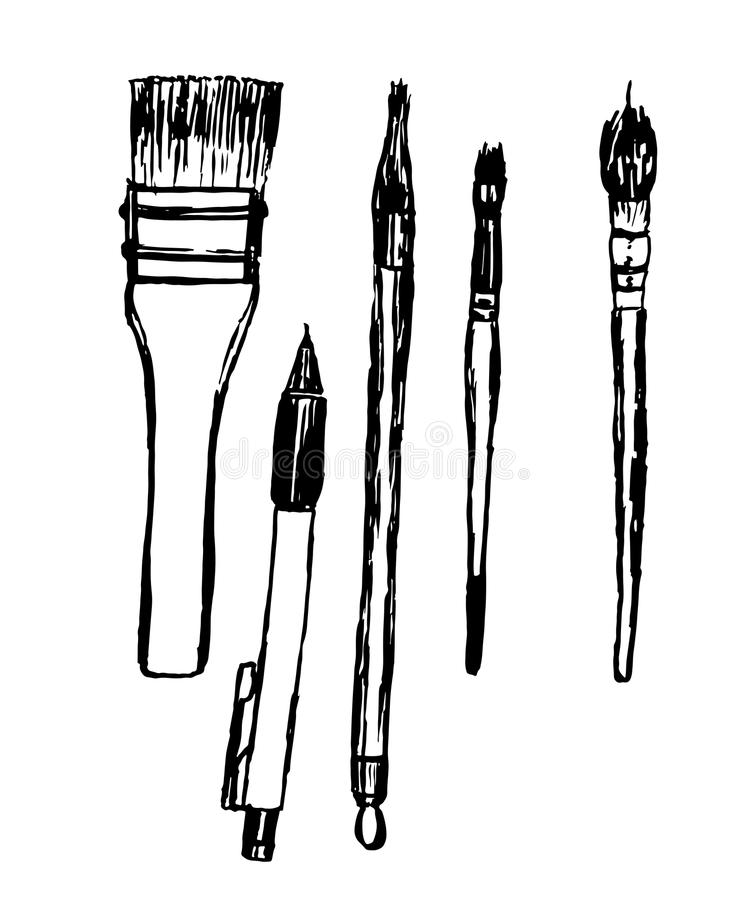Pile Wooden Pencils Stock Illustrations