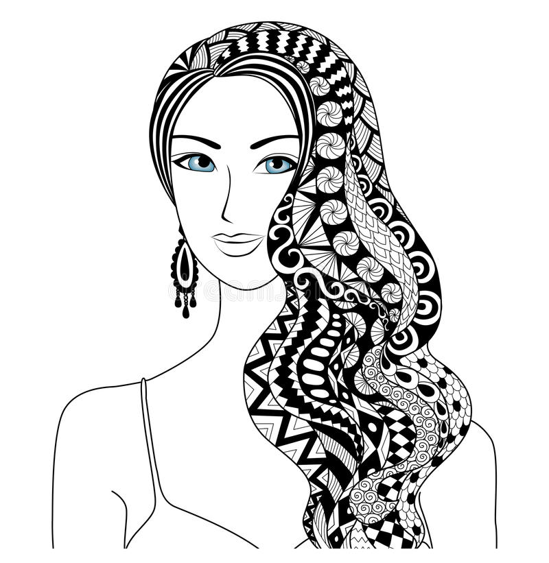 Drawing woman zentangle stock vector. Illustration of leaf