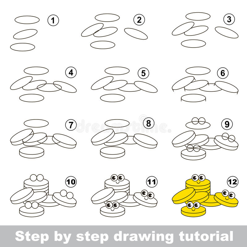 Drawing Tutorial For Preschool Children. Stock Vector