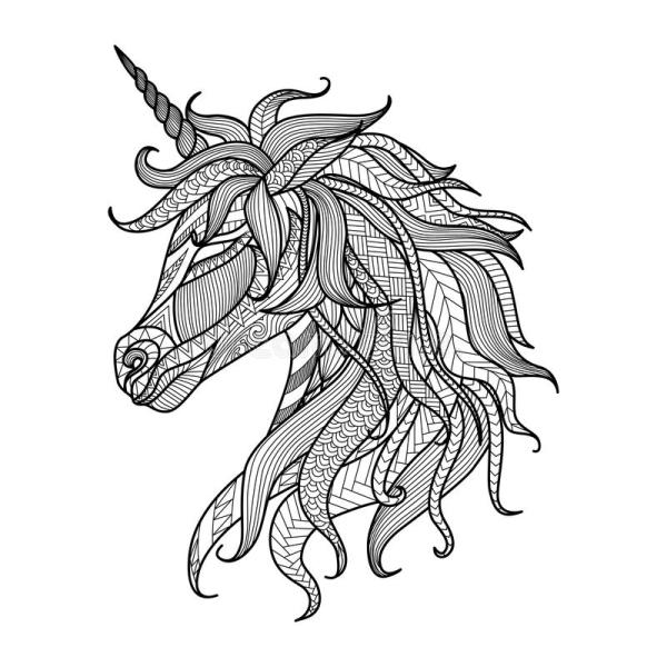Drawing Unicorn Zentangle Style Coloring Book Tattoo Shirt Design Logo Sign Stock Vector