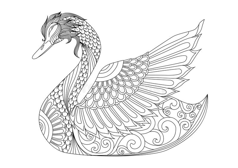 Drawing Zentangle Swan For Coloring Page, Shirt Design