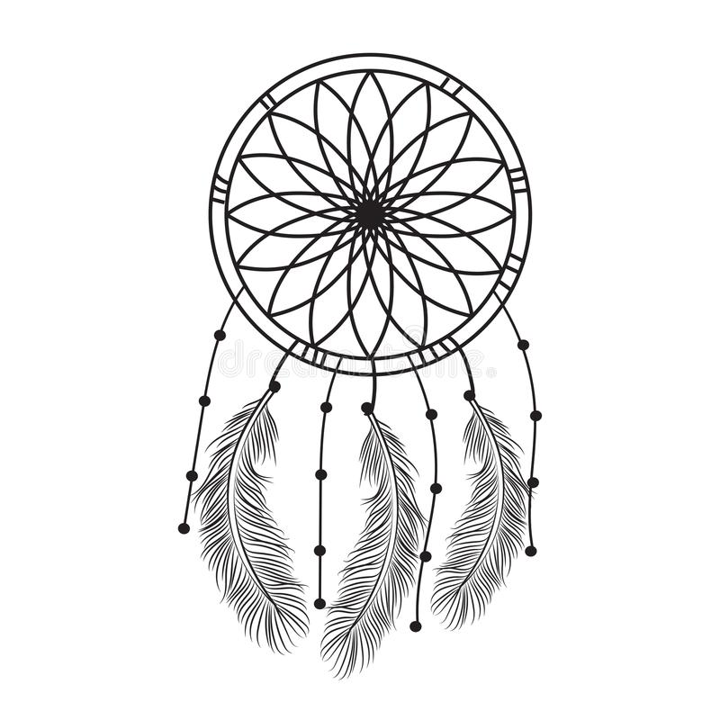 Dream Catcher Graphic In Black And White Decorated With