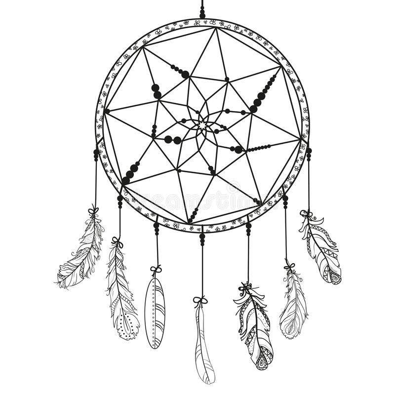 Pattern For Coloring Book. Dream Catcher Stock Vector