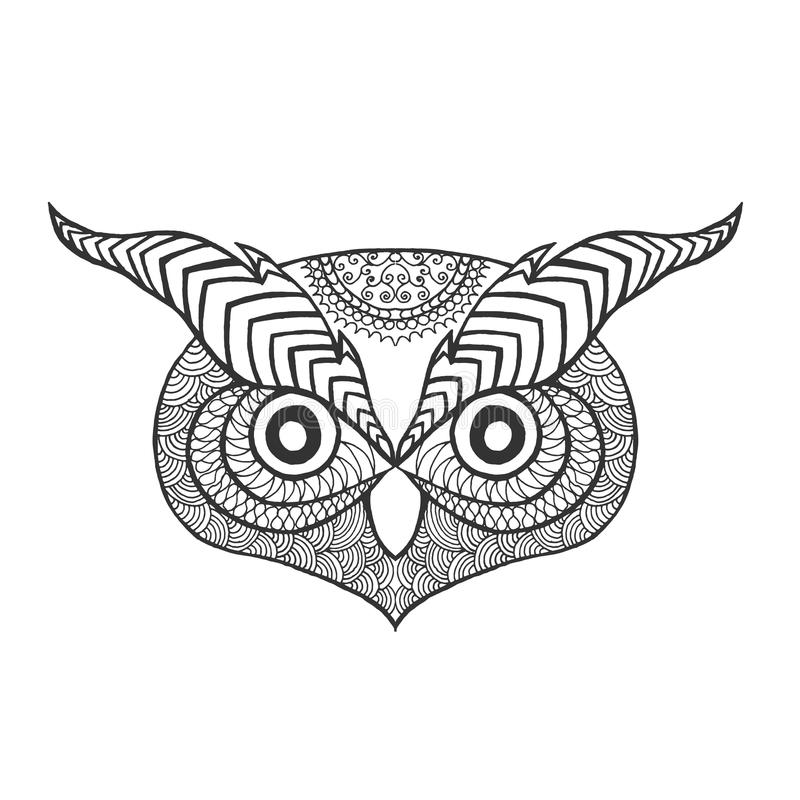 Eagle Owl Head. Adult Antistress Coloring Page Stock