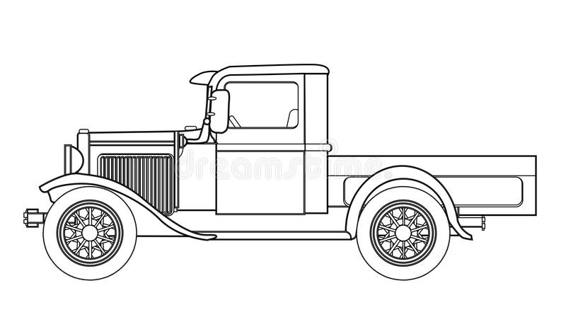 Early Pickup Truck Outline stock vector. Illustration of