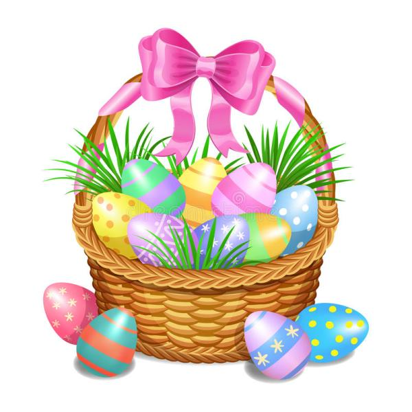 easter basket with color painted