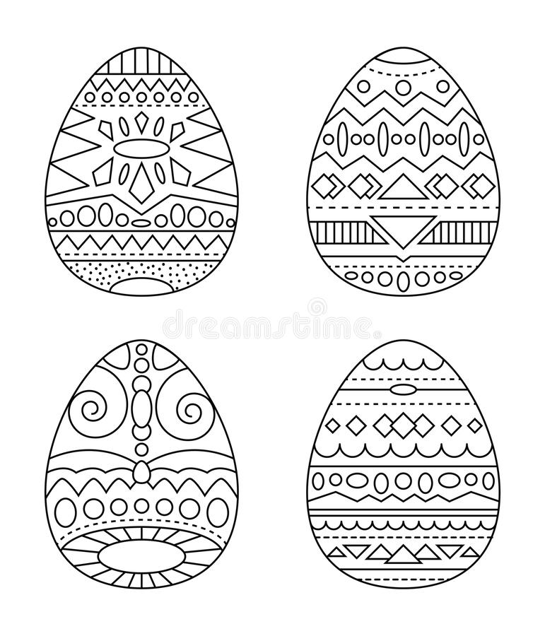 Easter Eggs With Tribal Ornament Coloring Page. Black And