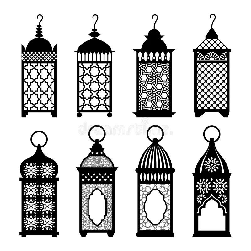 Eastern Arabic Lanterns Set Vector Illustration. Stock
