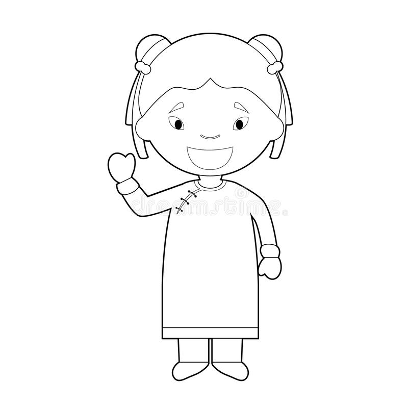 Cartoon Character Saying Hello And Welcome In Hindi Stock