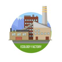 Ecology Factory. Eco Plant Icon In Flat Style. Stock