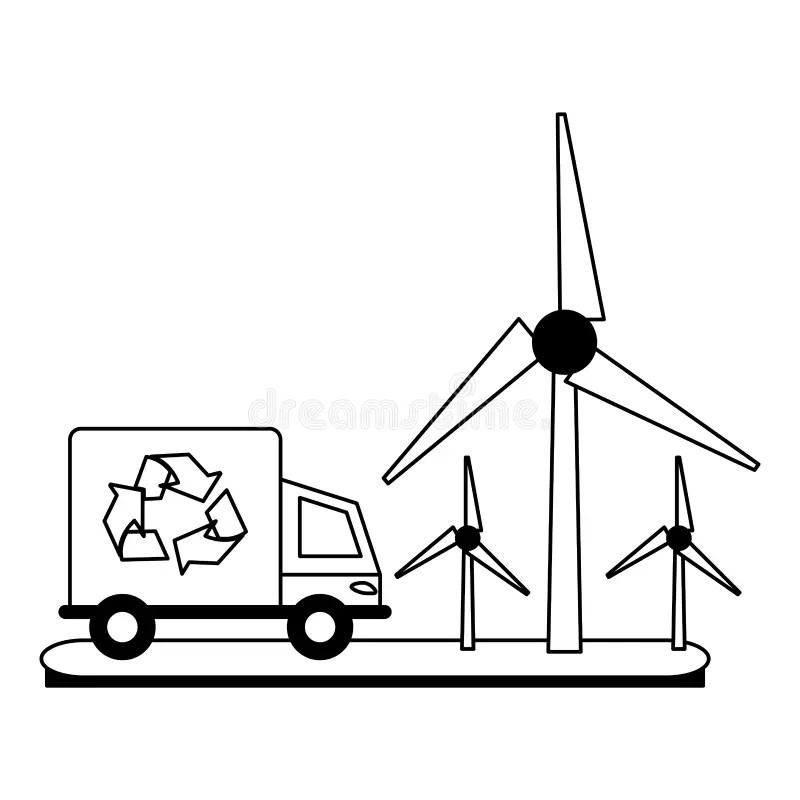 Ecology Wind Turbine Electricity Generator Green Circle