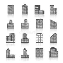 Edifice Buildings Icons Set Stock Vector - Illustration Of
