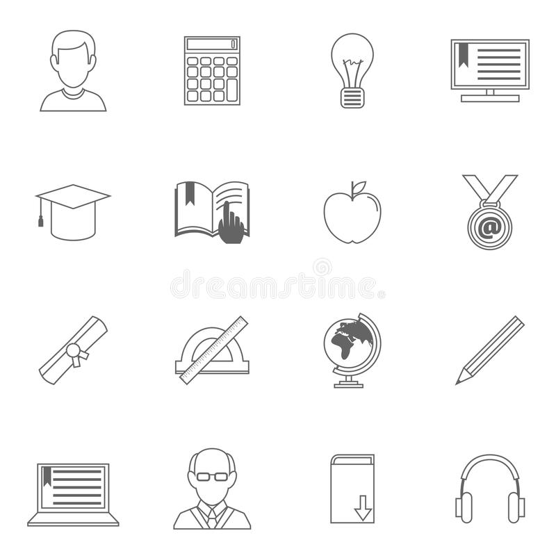 Education Outline Icons stock vector. Illustration of