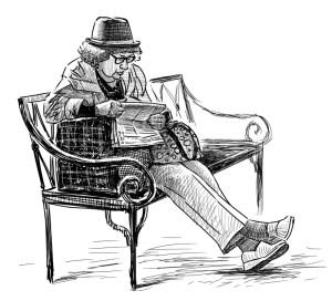 bench park woman elderly parkbank drawing banc parc homme bejaarde reading donna parco vieil resting banco della een lit journal