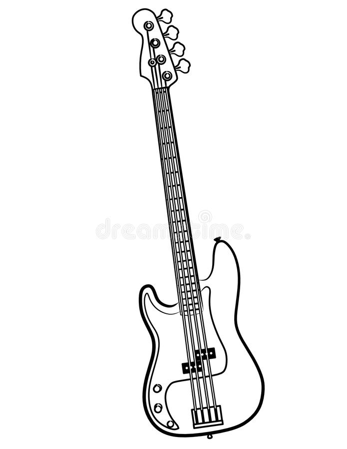 Electric Bass Guitar Line Art Vector Illustration Stock