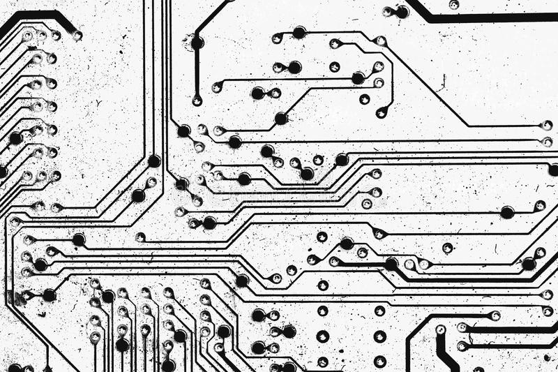Electric Circuit, Black&white For Background Stock Image