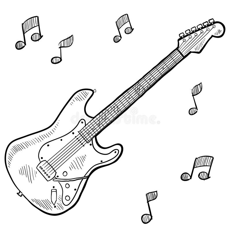 Electric guitar drawing stock vector. Illustration of