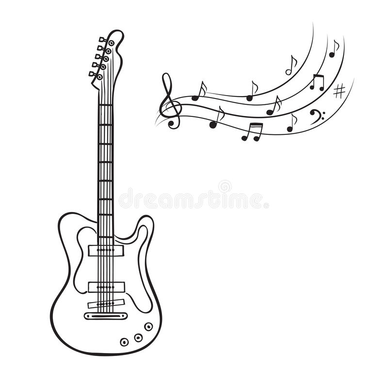 Electric Guitar And Music Notes Stock Vector