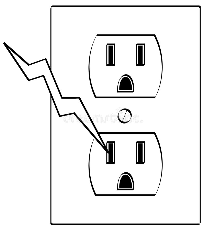 Electric outlet with bolt stock vector. Illustration of