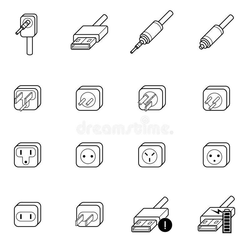 Electric Outlet,cable Wire And Plug Icon Stock Vector