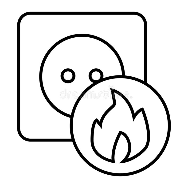 Socket Thin Line Icon. Electrical Vector Illustration