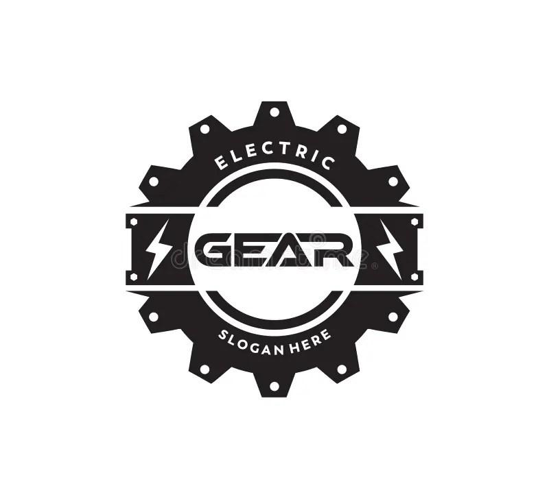 Electric Power Gear Play Media Button Icon Vector Logo