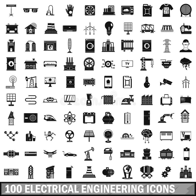 100 Electrical Engineering Icons Set, Simple Style Stock