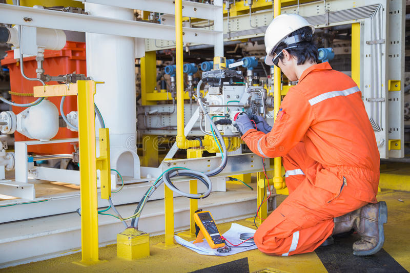 Electrical And Instrument Technician Maintenance Electric System At Offshore Oil And Gas