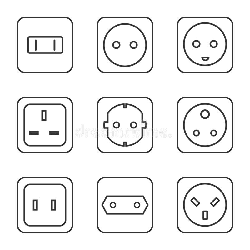 Electrical Outlet Isolated Icon Design Stock Illustration