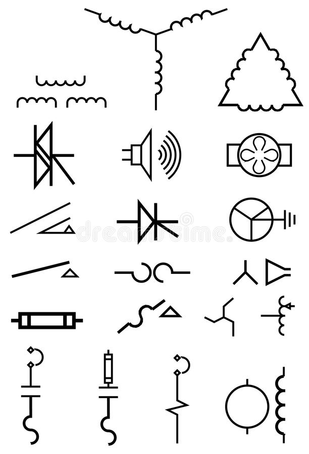 Electrical power symbols stock vector. Illustration of