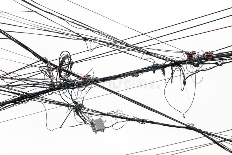 Post With Electric Transmission Wires On White Background