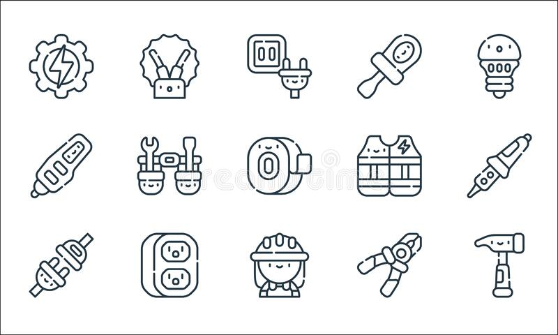Electrician Tools And Line Icons. Linear Set. Quality