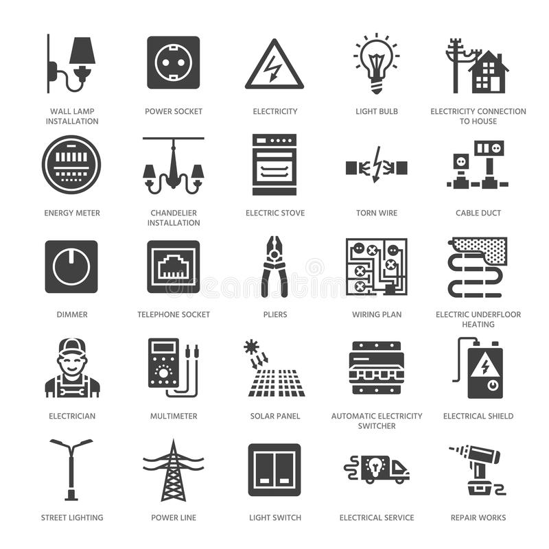 Silhouette Electricity And Power Icons Stock Vector