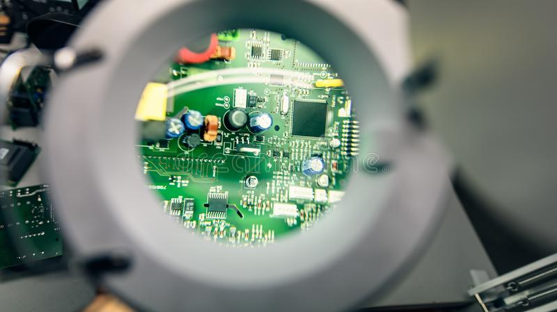 CPU Under The Magnifying Glass Stock Image