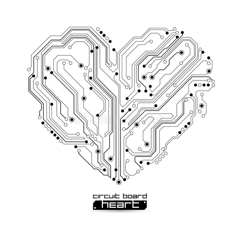 Vector Circuit Board Heart Stock Vector Illustration Of