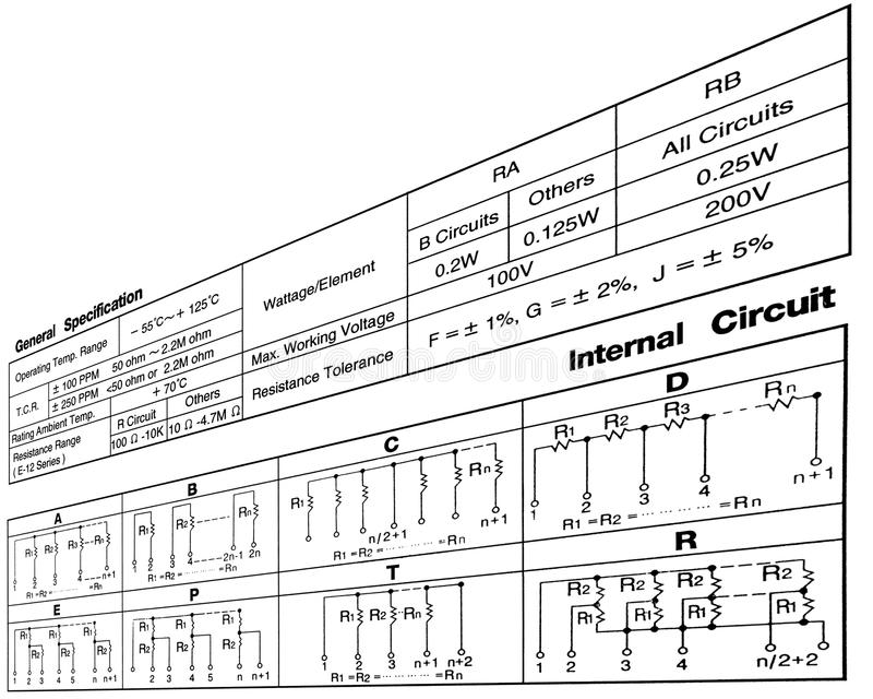 Electronic Resistance Circuit Diagram, Connections Royalty
