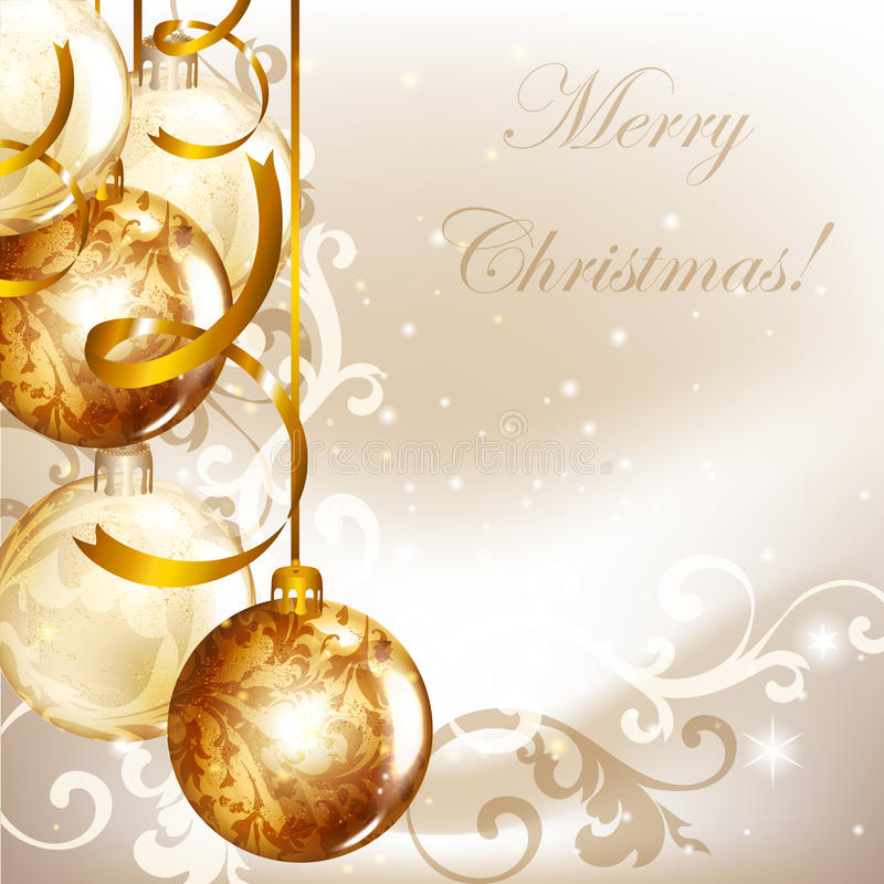 Elegant Christmas Background With Golden Baubles Stock